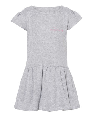 Baby Cotton Dress juju + stitch 6M / Heather Gray custom personalized script embroidered cotton girls dress