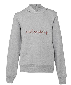 Big Kids Supersoft Hooded Sweatshirt juju + stitch S (6-8) / Heather Gray custom personalized script embroidered pullover hoodie sweatshirt