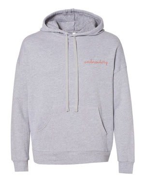 Adult Supersoft Classic Hoodie (Unisex) juju + stitch Adult XS / Heather Gray custom personalized script embroidered hoodie