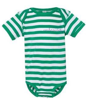 Baby Shortsleeve Onesie juju + stitch Newborn / Green Stripe custom personalized script embroidered baby onesie bodysuit
