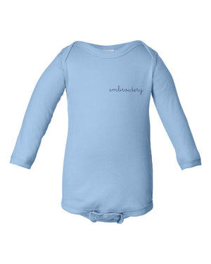 Baby Longsleeve Onesie juju + stitch NB / Soft Blue custom personalized script embroidered baby onesie bodysuit