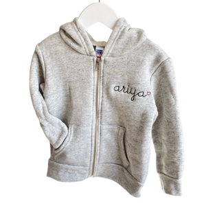 Adult Zip Fleece Hoodie (Unisex) juju + stitch Adult XL / Tri Light Gray custom personalized script embroidered zip-up sweatshirt