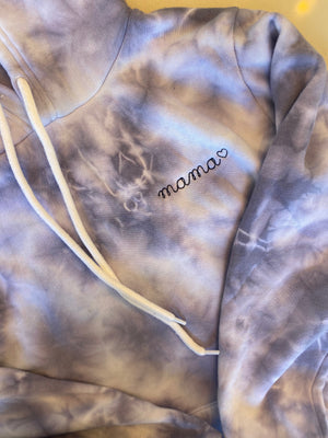 Adult Supersoft Marbled Tie-Dye Hoodie (Unisex) juju + stitch Adult XS / Lilac Marble custom personalized script embroidered tie dye marble hoodie