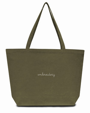 Canvas Tote Bag juju + stitch O/S / Military custom personalized script embroidered canvas tote bag