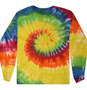 Kids Tie-Dye Longsleeve Shirt juju + stitch KIDS 2-4 / Bright Rainbow custom personalized script embroidered tie dye kids longsleeve shirt