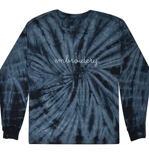 Adult Tie-Dye Longsleeve Shirt (Unisex) juju + stitch Adult S / Spiral Navy custom personalized script embroidered tie dye longsleeve shirt