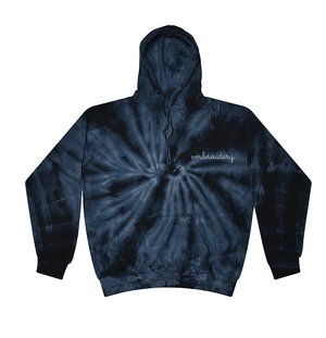 Adult Tie-Dye Pullover Hooded Sweatshirt (Unisex) juju + stitch Adult XL / Spiral Navy custom personalized script embroidered tie dye hoodie