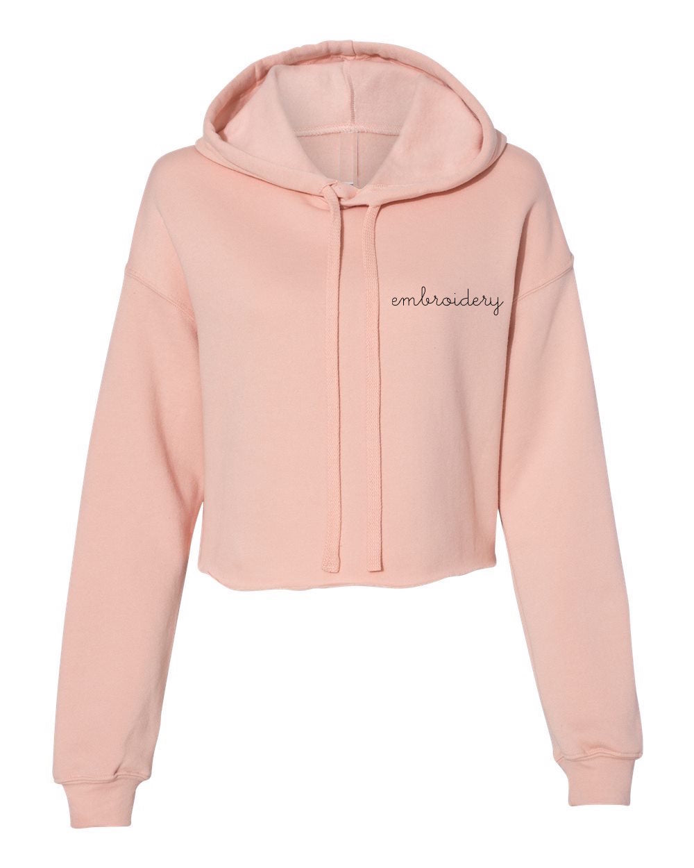 Ladies' Cropped Fleece Hoodie juju + stitch  custom personalized script embroidered cropped fleece hoodie