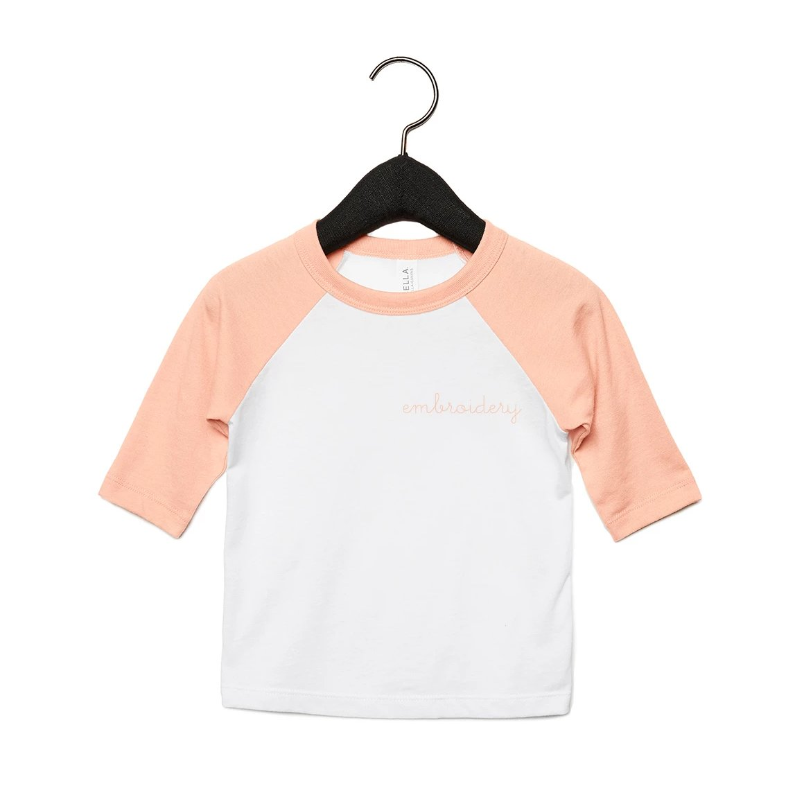 Big Kids Baseball T-shirt juju + stitch Youth S / Heather Peach/White custom personalized script embroidered kids baseball t-shirt