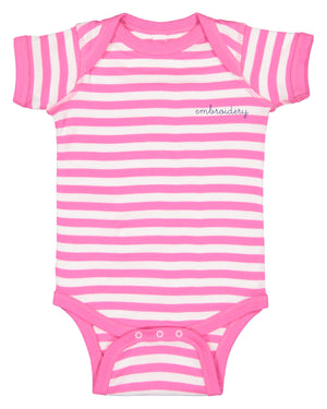 Baby Shortsleeve Onesie juju + stitch Newborn / Pink Stripe custom personalized script embroidered baby onesie bodysuit