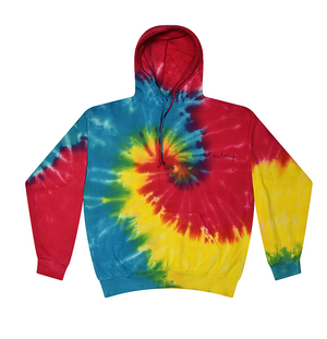 Adult Tie-Dye Pullover Hooded Sweatshirt (Unisex) juju + stitch Adult XL / Primary Rainbow custom personalized script embroidered tie dye hoodie
