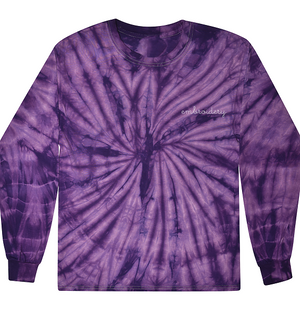 Adult Tie-Dye Longsleeve Shirt (Unisex) juju + stitch Adult M / Spiral Purple custom personalized script embroidered tie dye longsleeve shirt