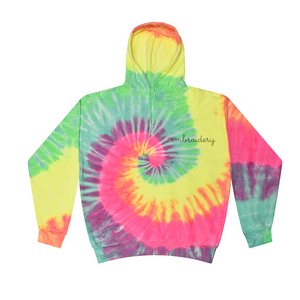 Adult Tie-Dye Pullover Hooded Sweatshirt (Unisex) juju + stitch Adult S / Rainbow Mint custom personalized script embroidered tie dye hoodie