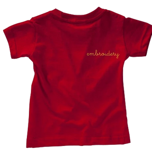 Adult Solid Shortsleeve T-shirt (Oversized) juju + stitch Adult Small / Red custom personalized script embroidered kids t-shirt