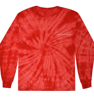 Adult Tie-Dye Longsleeve Shirt (Unisex) juju + stitch Adult S / Spiral Red custom personalized script embroidered tie dye longsleeve shirt