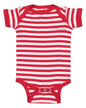 Baby Shortsleeve Onesie juju + stitch Newborn / Red Stripe custom personalized script embroidered baby onesie bodysuit
