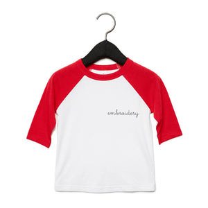 Little Kids Baseball T-shirt juju + stitch 2T / Red/White custom personalized script embroidered kids baseball t-shirt