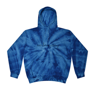 Adult Tie-Dye Pullover Hooded Sweatshirt (Unisex) juju + stitch Adult XL / Spiral True Blue custom personalized script embroidered tie dye hoodie