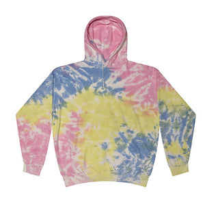 Kids Tie-Dye Pullover Hooded Sweatshirt juju + stitch KIDS 2-4 / Yellow Candy custom personalized script embroidered tie dye hoodie
