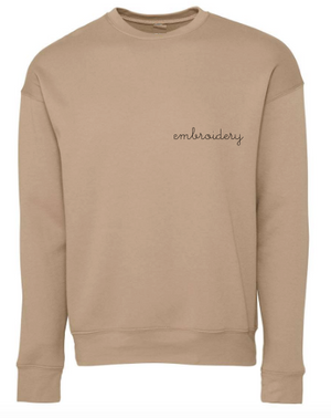 Adult Classic Crewneck Fleece (Unisex) juju + stitch XS / Tan custom personalized script embroidered crewneck fleece