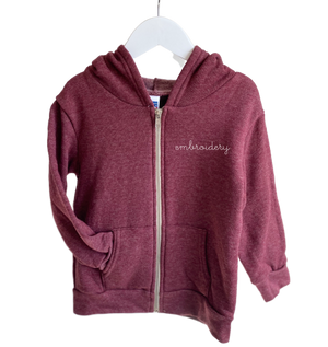 Adult Zip Fleece Hoodie (Unisex) juju + stitch Adult XL / Tri Burgundy custom personalized script embroidered zip-up fleece sweatshirt