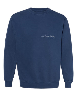Adult Vintagewash Crewneck Sweatshirt (Unisex) juju + stitch Adult S / Navy custom personalized script embroidered crewneck sweatshirt