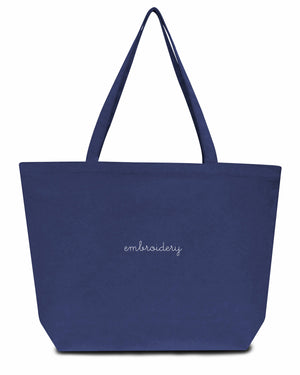Canvas Tote Bag juju + stitch O/S / Washed Navy custom personalized script embroidered canvas tote bag