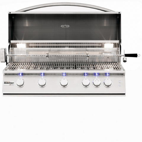 Summerset Sizzler Pro 40-Inch 5-Burner Built-In Propane Grill With Rear Infrared Burner - SIZPRO40-LP