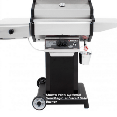 Phoenix Stainless Steel Propane Gas Grill Mounted On a Black Aluminum Pedestal Cart -SDBOCP