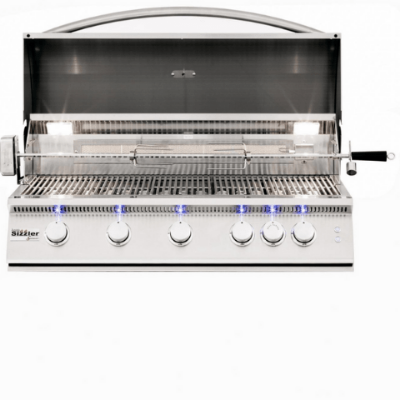 Image of Summerset Sizzler Pro 40-Inch 5-Burner Built-In Gas Grill With Rear Infrared Burner - SIZPRO40-NG
