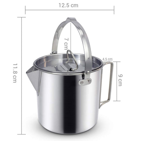 Coffee Pot 8-Cup Stainless Steel Vintage Aluminium Filter Outdoor Camping Hiking