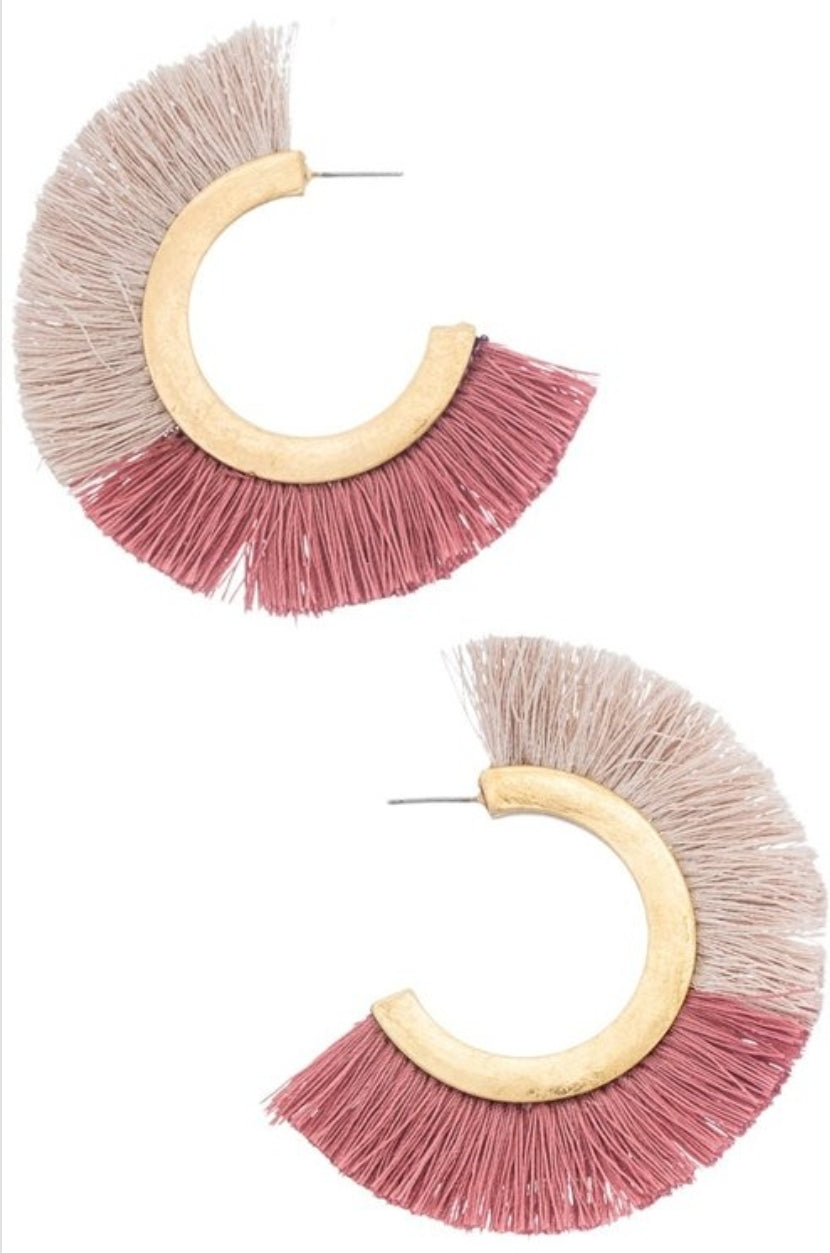 Ava Fringe Hoop Earrings