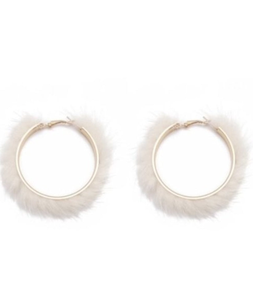 Snow White Hoop Earrings