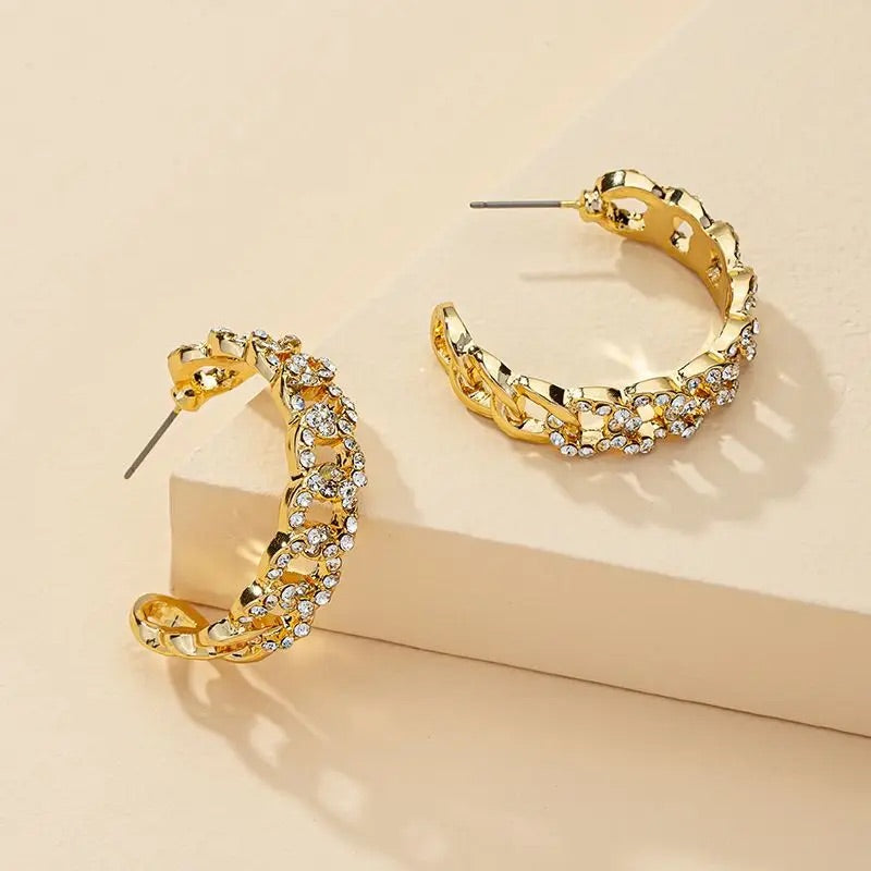 Ami Swarovski Hoop Earrings