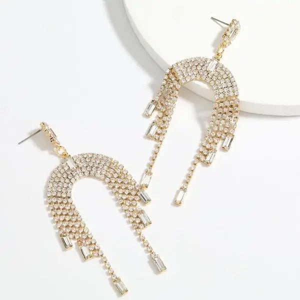 Lila Swarovski Drop Tassel Earrings