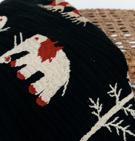 Embroidered Throw Blanket Black