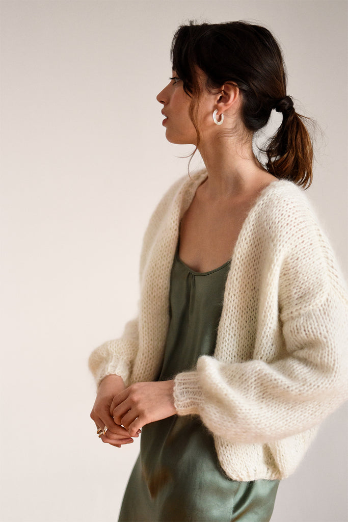 Open Front Cardigan Soft Kid Mohair Slouchy Cardigan Balloon Sleeves Mohair Bomber Cardigan Off White Hand Knit Chunky Knit Cardigan