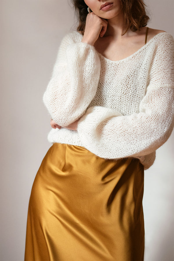 Deep V Mohair Sweater