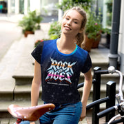 Starry Night Womens All-Over Print Crop Tee, Rock of Ages Hollywood