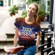 HOLLYWOOD SUNSET WOMENS ALL-OVER PRINT CROP TEE, ROCK OF AGES HOLLYWOOD