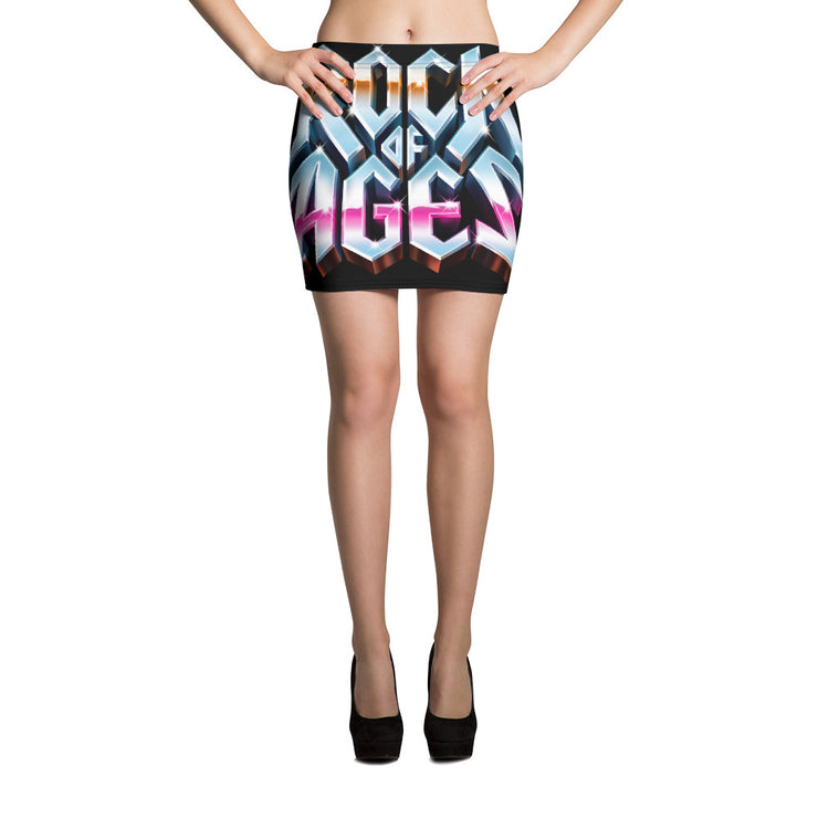 All-Over Print Mini Skirt, Rock of Ages