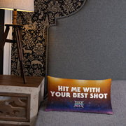 """Hit Me With Your Best Shot"" Hollywood Sunset / Black Throw Pillow, Rock of Ages Hollywood"
