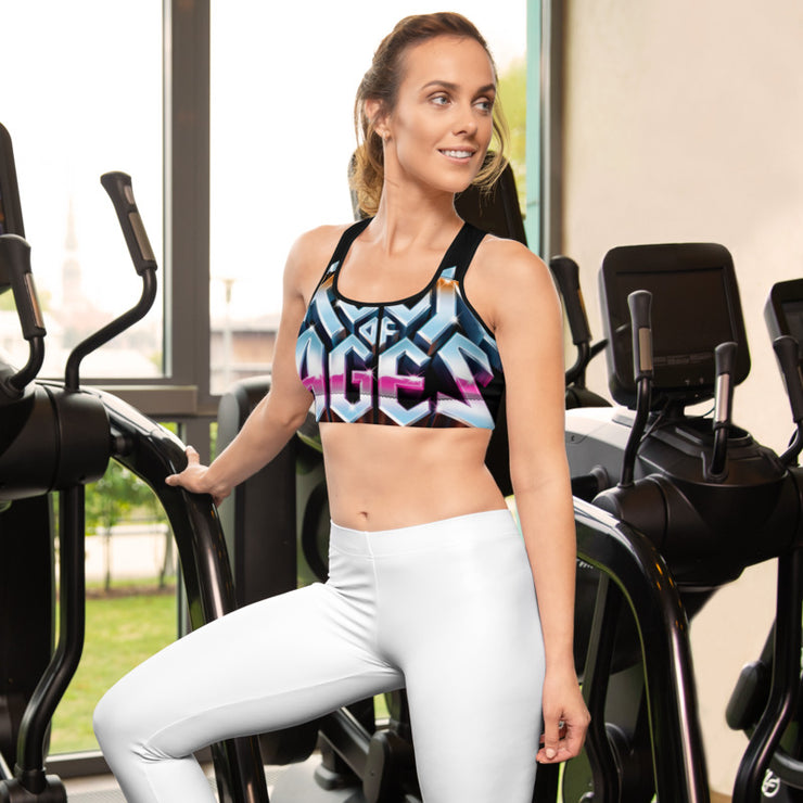 All-Over Print Sports Bra, Rock of Ages Hollywood