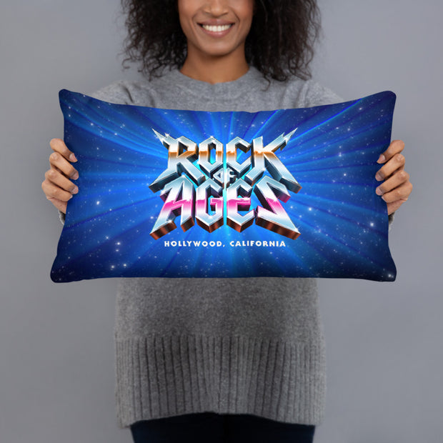 Starry Night  / Black Throw Pillow, Rock of Ages