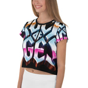 WOMENS ALL-OVER PRINT CROP TEE, ROCK OF AGES HOLLYWOOD