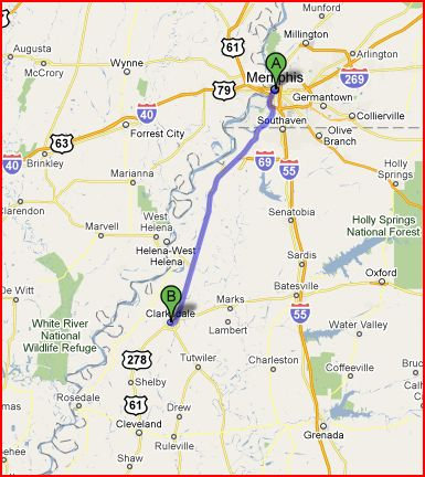 The Drive from Memphis Airport to Clarksdale takes about 90 minutes.
