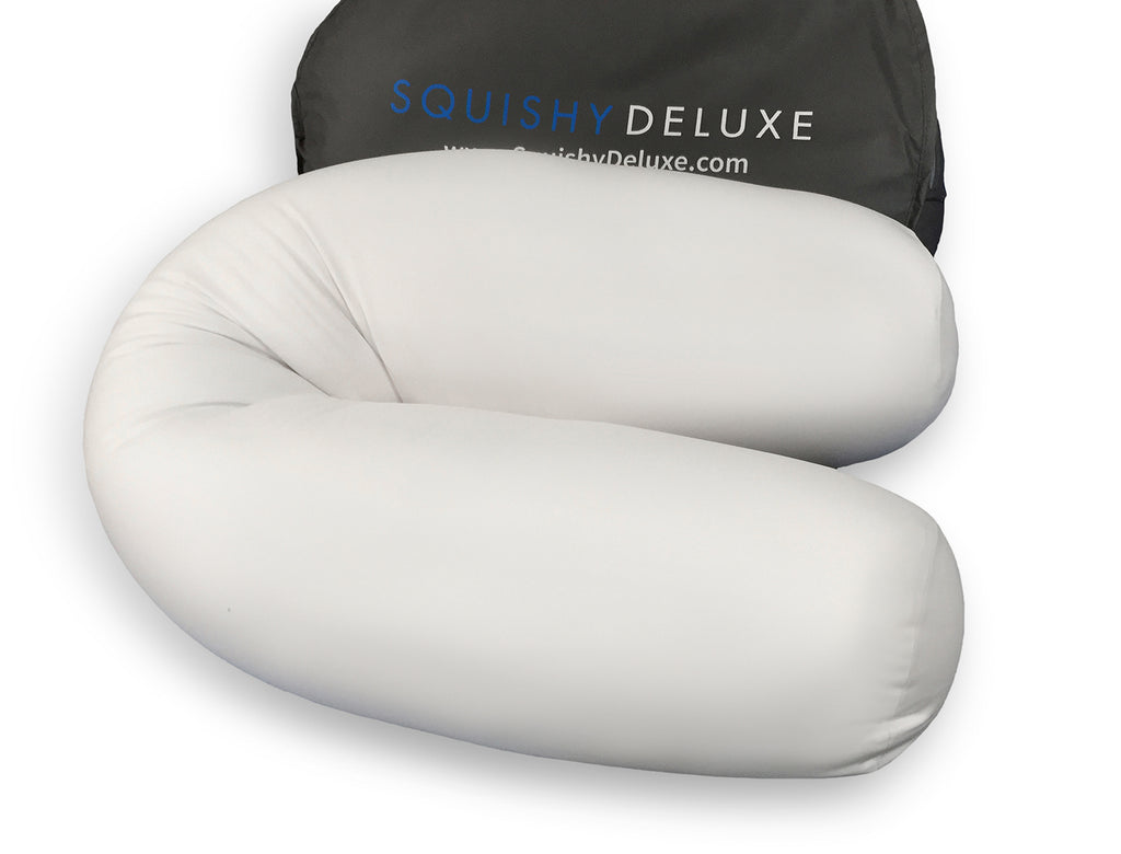 Squishy Deluxe Microbead Body Pillow with Removable Cover - White