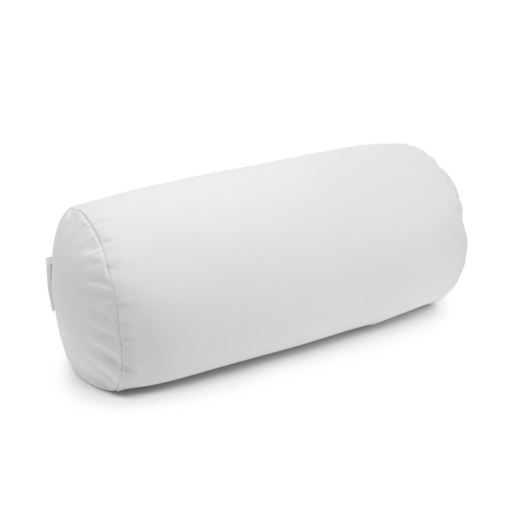 Squishy Deluxe Microbead Bolster Pillow with Removable Cover - White