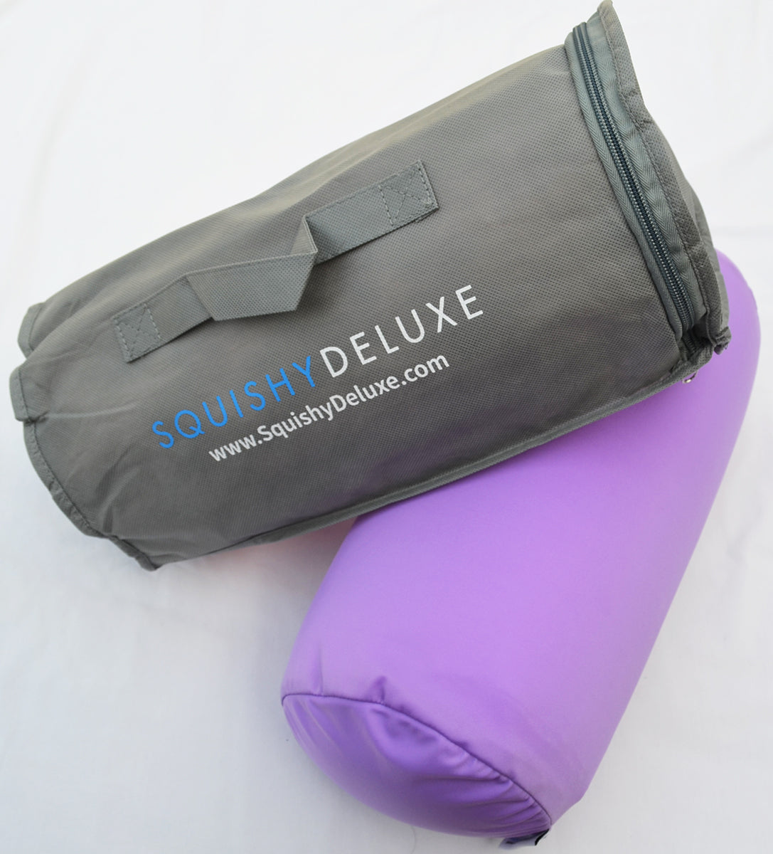 Squishy Deluxe Microbead Bolster Pillow with Removable Cover - Violet