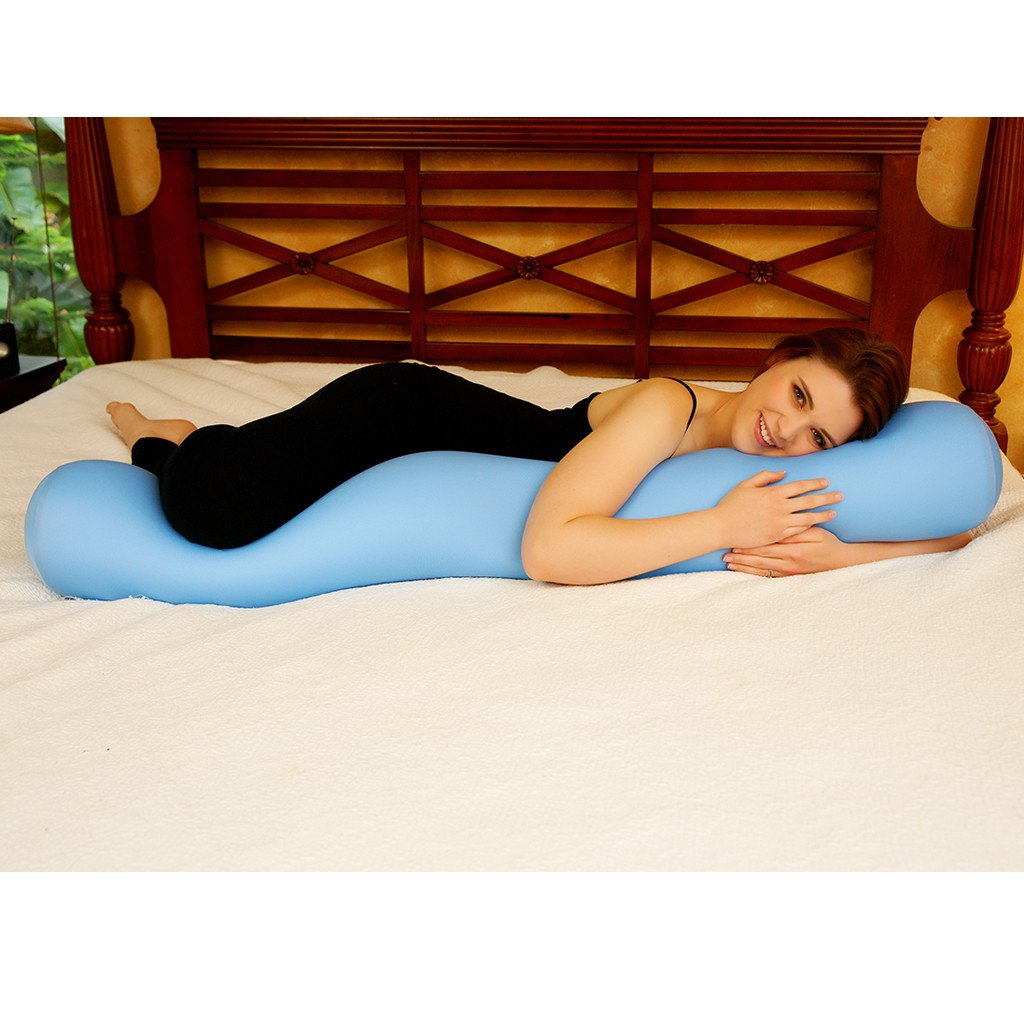 Squishy Deluxe Microbead Body Pillow with Removable Cover - Navy Blue